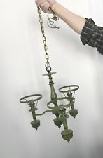 VINTAGE TOLE BOUILLOTTE LAMP GREEN FRENCH CHANDELIER