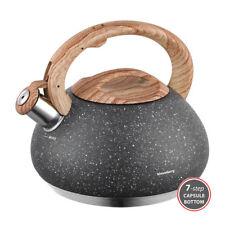 Wasserkessel Flötenkessel KLAUSBERG 2 7l mit pfeife Kb-7280 Granit Wood
