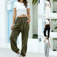 Elastische Taille Baumwollmischung Workout Jogginghose Sportswear Frauen L2Q0