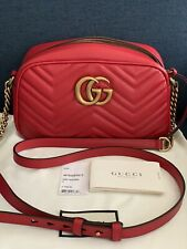 GUCCI Marmont GG Matelasse Small Red Leather Crossbody Shoulder Camera Bag