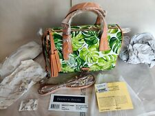 Dooney & Bourke Kendra Satchel White Tropical Leaves Handbag Duffle