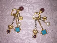 LINDA LEVINSON 80's 5-Charm Earrings Hoops Goldtone Clip On Signed Free Shipping