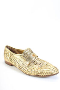 Chanel Womens Leather Block Heel Slip On Mules Gold Size 12