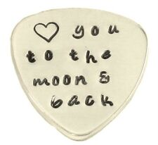 Custom Guitar Pick Love you to the moon and back Hand Stamped Music Lovers