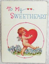 Antique To My Sweetheart Valentine's Day Card With Rose Petals Small Cupid Love