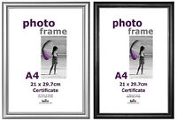 12 A4 Black /Silver Photo Picture Certificate Frame Wall Desk Plastic Wholesale