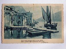 LAGO DI GARDA Limone barca vela pescatori vecchia cartolina Bertacchi