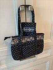 Vintage Vera Bradley blue FLORAL top zip bag 6 inside pockets plus wallet