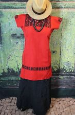 Red & Black Huipil Short Dress Chiapas Mexico Hand Woven Mayan Boho Hippie Frida