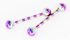 "Pair 14g 5/8"" Purple Striped Titanium Tongue Rings,  Nipple Barbells 5mm Ball"