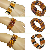 New 2019 Tribal African Caribbean Wooden Beaded Stretch Bracelet Bangle Fast Shi