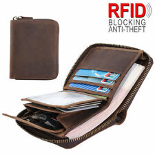 Men Genuine Leather RFID Zipper Wallet Bifold Money Clip Photo Card Coins Purse