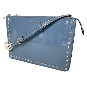 MICHAEL KORS Ava Studded Large Patent Leather Convertible Clutch / Crossbody Bag