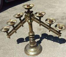 "Vintage  Solid Brass 7 Candle Adjustable Candelabra Alter Church & Wedding 18"""