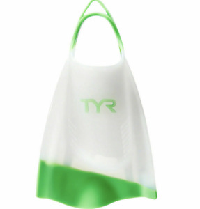 TYR HYDROBLADE Swim Fins Small S Mens 4-6; Womens 5.5-7.5 | Clear Green
