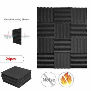 24x Acoustic Wall Panels Sound Proofing Foam Pads Studio Treatments Tool
