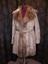 Fabulous Furs NEW Gunmetal Grey Faux Suede Fox Fur Collar Belted Trench Coat XL