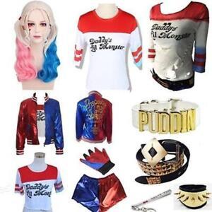 Dame Karneval Cosplay Kostüm Set Suicide Squad Jacket Harley Quinn Outfit Suit