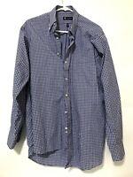 Chaps Mens Long Sleeve Plaid Flannel Dress Shirt Blue Purple Size Large