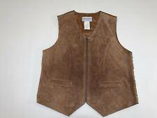 Jantzen Classics Women's 100% Suede Leather Vest Medium Brown M Zipper Front M