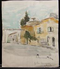 Peinture Aquarelle PAUL COUVREUR - Parc Saramartel à Antibes 1930 - PC183