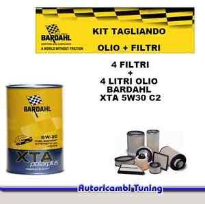 Set Entretien 4 Litres Huile Bardahl + 4 Filtres Fiat Punto Evo 1.3 Mtj 70 Kw 95