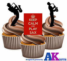 Keep Calm Silueta saxofón Player Mix 12 Comestibles Stand Up Cup Cake Toppers