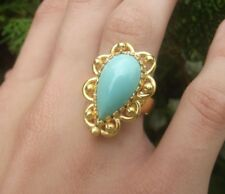 5CT TURQUOISE 22K  SOLID YELLOW GOLD HANDMADE ARTISAN RING 8.5gr  NO 18K 14K