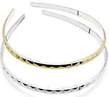 2 PACK GOLD SILVER DIAMOND CUT METALLIC PLASTIC ALICE HEADBAND HAIR BAND GLAMOUR
