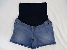Liz Lange Maternity Womens S Summer Blue Distressed Denim Jean Shorts CB8L