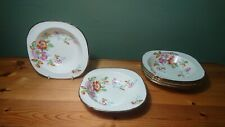 Rare Set 6 Vintage Alfred Meakin Densby Pattern Fruit Dishes Flowers Gold Rim