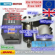 【UK+EU】1.5KW 220V Water Cooled CNC Spindle Motor ER16+VFD+80mm Clamp+Pump+Collet