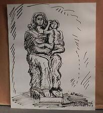 Vintage Modern Original Drawing Madonna Mother Child Chicago Abbot Pattison BVM