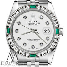 Ladies Rolex 26mm Datejust White Color Dial with Diamond Emerald Accent Watch
