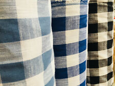 Gingham Linen Checked Cotton Fabric Plaid Material Buffalo Black Check 140cm wid