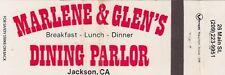 Marlene & Glen's Dining Parlor Jackson California CA Vintage Matchcover