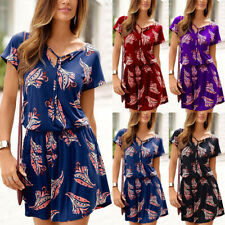 Women Floral Short Sleeve Mini Dress Summer Beach Loose Tunic Swing Sundress