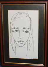 Vintage ink painting modernist woman portrait signed