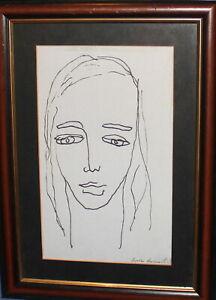 Vintage ink painting modernist woman portrait signed