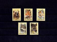 RUSSIA - 1988 - ZOO RELIEF - LYNX - WOLF - BEAR - BOAR - FOX - MINT SINGLES SET!