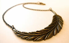 Antique Feather Leaf Statement Necklace -Jewellery Vintage Festival Boho Jewelry