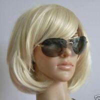 Fashion Women's Short Bob Hair Wig Light Blonde Heat Resistant Full Cosplay Wigs