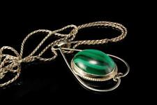 VINTAGE STERLING MALACHITE PENDANT NACKLACE CHAIN A806-264