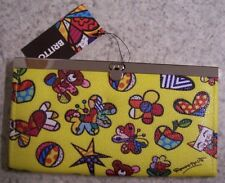 Romero Britto Metal Clasp Snap Close Wallet Mini Icons Flying Heart Cat Bear NEW