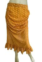 Comino Couture London Skirt Size Uk 12 Mustard Polka Dot Midi Ruched Designer