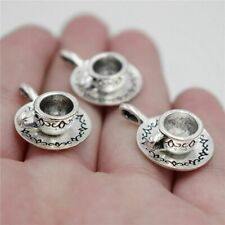 Antique Sliver 3D Coffee Cup Teacup Charms Pendants Jewelry Findings 10pcs hot