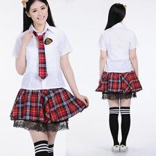 Women Girl JK Japanese School Sailor Uniform Short Sleeve Red Skirt Costume M