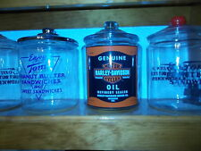 """2 GALLON HARLEY DAVIDSON OIL CAN STYLE WITH STICKER 13 1/2"""" COUNTER JAR"""