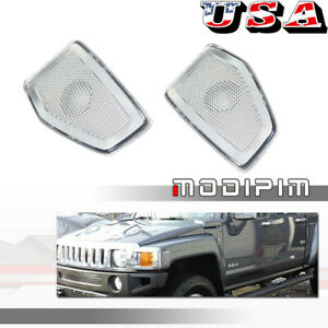 Clear Front Bumper Side Marker Light Housings Cover Set For 2006-2010 HUMMER H3
