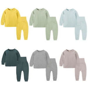 Boys Girls Kids Childrens Long Cotton Plain Sleep Pyjamas Nightwear PJs 9-14Y